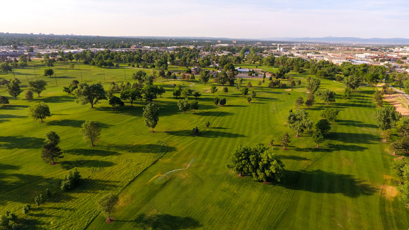 An aerial view of Overland Park looking south